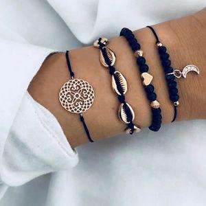 🆕4 piece Black & gold bracelet set